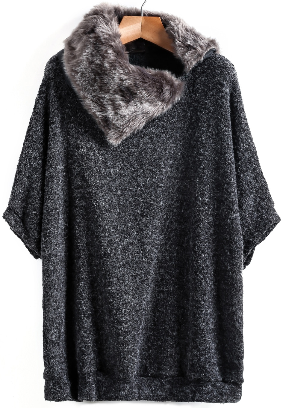 Dark Grey Contrast Fur Loose Knit Sweater