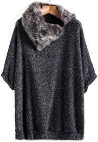 Dark Grey Contrast Fur Loose Knit Sweater