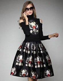 Black Off the Shoulder Girl Print Top With Skirt