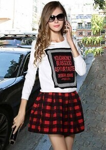 White Letters Print Sweatshirt With Red Plaid Skirt