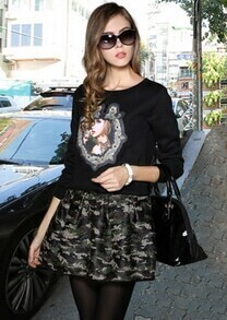 Black Long Sleeve Beauty Print Top With Camouflage Skirt
