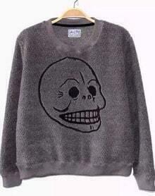Grey Embroidery Skull Fleece Sweatshirt