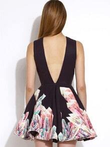 Black Sleeveless Floral Print Flare Dress