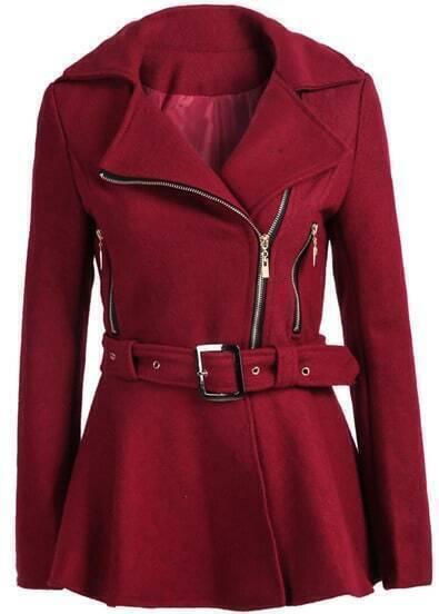 Wine Red Lapel Zipper Woolen Coat