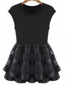 Black Sleeveless Contrast Organza Flare Dress
