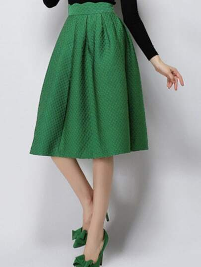 Green High Waist Plaid Skirt
