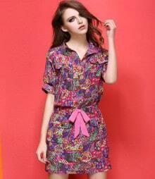 Multicolor Lapel Floral Loose Shirt Dress
