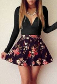 Black Long Sleeve Floral Flare Dress