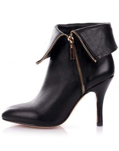 Black Zipper Point Toe High Heel Shoes