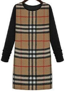 Khaki Long Sleeve Plaid Knit Dress