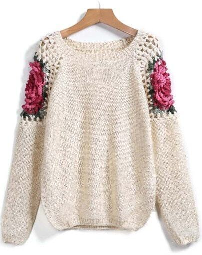 Apricot Floral Crochet Hollow Loose Sweater