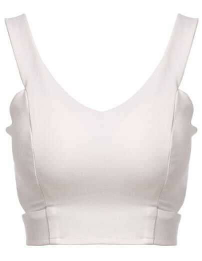 White V Neck Zipper Crop Vest