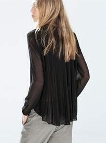 Black Long Sleeve Pleated Blouse