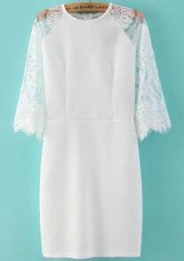 White Contrast Lace Zipper Straight Dress