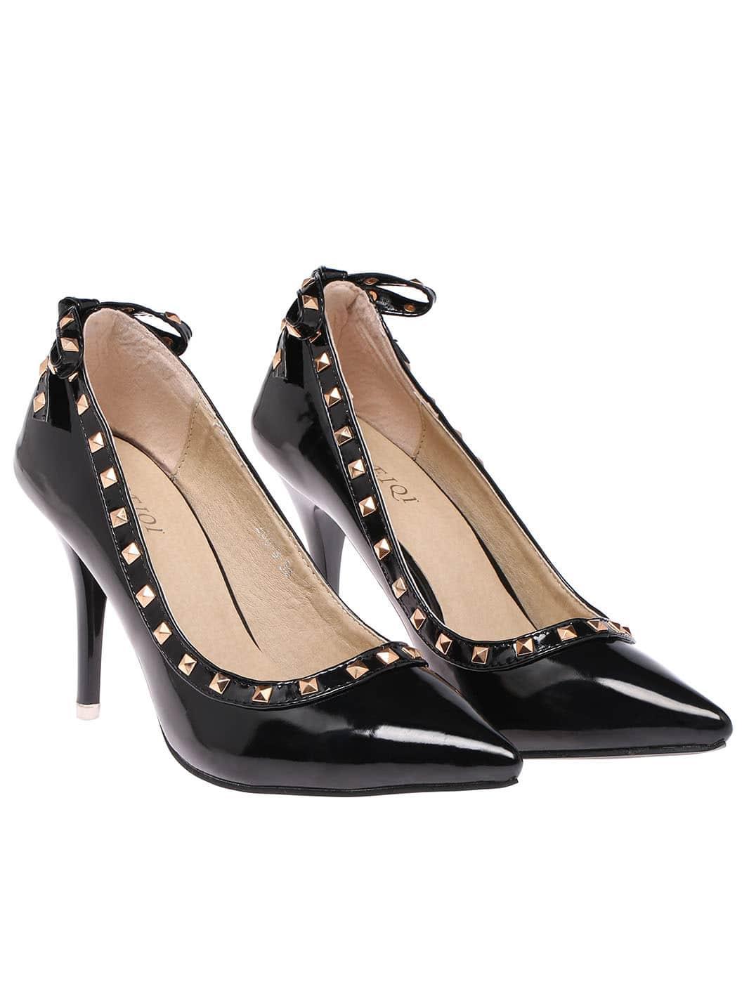black bow rivet high heel shoes shein sheinside
