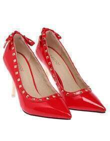 Red Bow Rivet High Heel Shoes