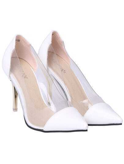 White Contrast Sheer High Heel Shoes