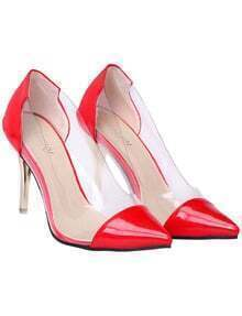 Red Contrast Sheer High Heel Shoes