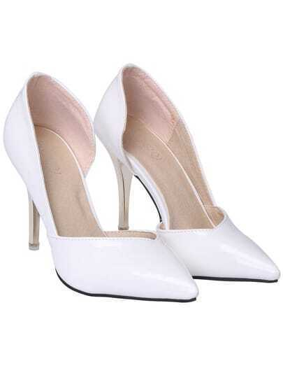 White High Heel Point Toe PU Shoes