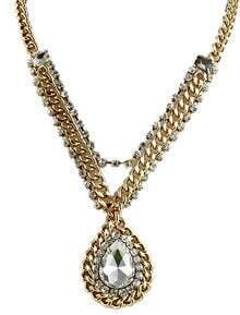 White Drop Gemstone Crystal Gold Chain Necklace