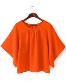 Orange Batwing Loose Crop Blouse