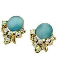 Green Gemstone Gold Leaf Stud Earrings