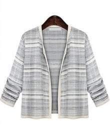 Black Long Sleeve Stiped Loose Coat