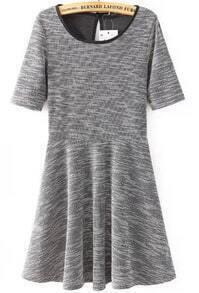 Grey Short Sleeve Pleated Knit Dress