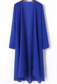 Royal Blue Long Sleeve Chiffon Blouse