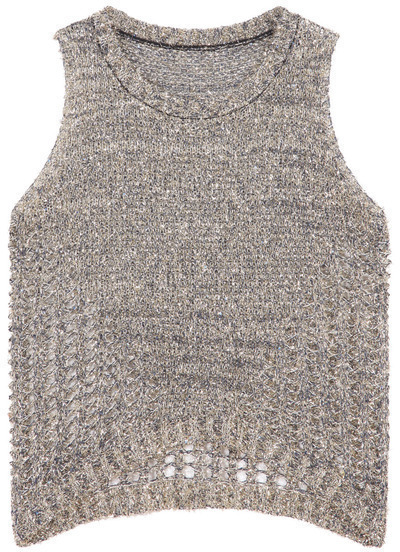 Black Sleeveless Metallic Yoke Knit Sweater