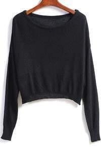 Black Round Neck Knit Crop Sweater