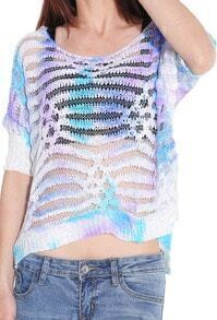 Multicolor Round Neck Hollow Dip Hem Sweater