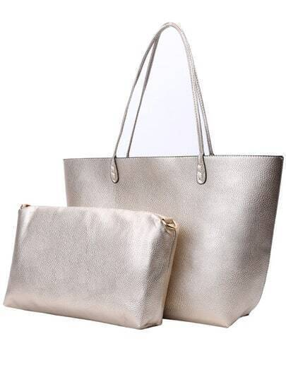 Gold Double Handle PU Bag With Clutches