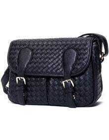 Black Weave Buckle PU Bag