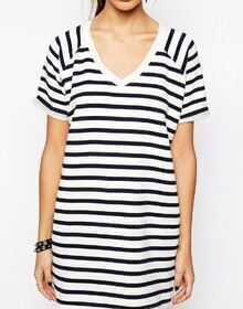 Black White V Neck Striped Loose Dress