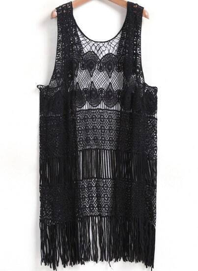 Black Sleeveless Hollow Tassel Lace Blouse