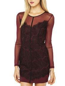 Dark Red Aubergine Long Sleeve Sheer Lace Insert Bodycon Dress