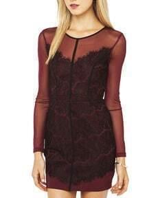 Dark Red Aubergine Long Sleeve Sheer Lace Insert Bodycon Dress