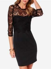 Black Contrast Hollow Lace Bodycon Dress