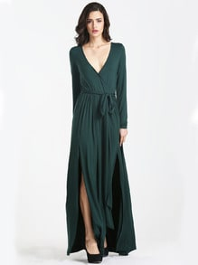 Dark Green Long Sleeve Split Maxi Dress
