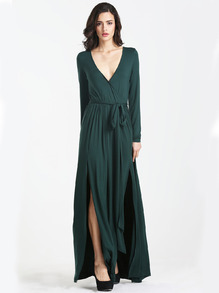 Dark Green Faille Multiway Long Sleeve Perfect Split Infinity Maxi Dress