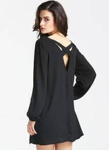 Black Split Sleeve Cross Back Dress