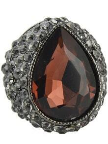 Purple Gemstone Retro Silver Diamond Ring