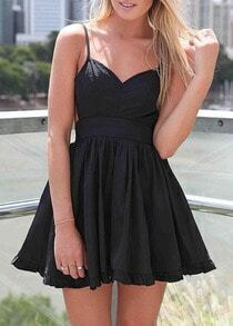Black Spaghetti Strap Pleated Flare Dress