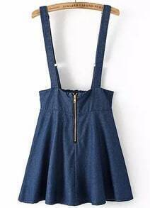 Navy Strap Zipper Denim Skirt