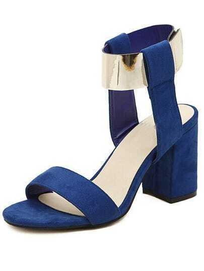 Blue Metallic Embellished Slingbacks High Heeled Sandals