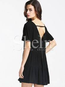 Black Short Sleeve V Back Dress