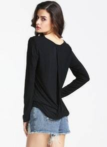 Black Long Sleeve Casual T-shirt
