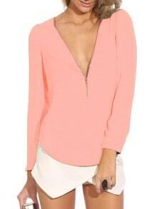 Pink V Neck Long Sleeve Zipper Top