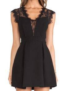 Black Sleeveless Sheer Lace Insert Pleated Dress